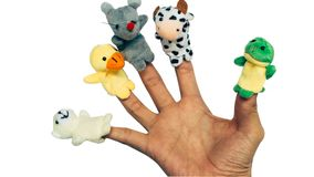 Hand puppets isolated on white stock photography