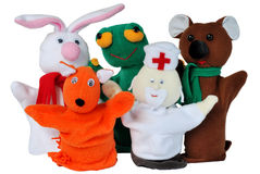 Hand puppets. Hand puppet isolated - rabbit, frog, bear, fox, doctor Stock Photo