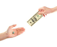 Hand purchase and sale of medicine Stock Image