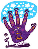 Hand purple aliens. Purple by aliens with four eyes and five legs standing and looking at a flower. Silhouette of an alien hand shape. Clouds float above it Royalty Free Stock Images