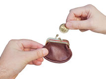 Hand with a purse and coin Royalty Free Stock Photo