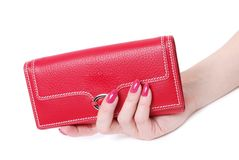 Hand with purse feminine red 2. On white background Stock Photos