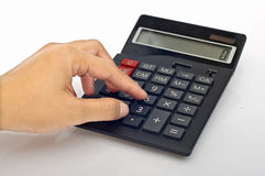 Hand Push Calculator Button Stock Images