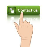 Hand push contact button Stock Photo