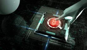 Hand push ICO launch red button in abstract virtual tech background. initial coin offer 3d render concept illustration. White hand push ICO launch red button in Stock Images