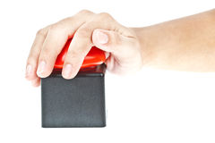 Hand push on Red button Royalty Free Stock Image