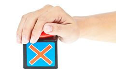 Hand push on Red button Stock Photography