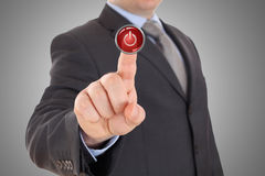 Hand push red stop button Stock Photo