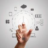 Hand push start Cloud Computing diagram Royalty Free Stock Images