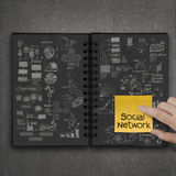 Hand push sticky note socual network Royalty Free Stock Photos