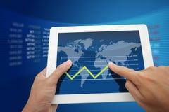 Hand push a world  graph Stock Photography
