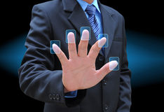 Hand pushing Stock Images
