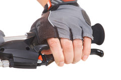 Hand pushing brake lever Royalty Free Stock Image