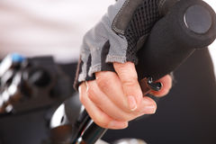 Hand pushing brake lever Stock Image
