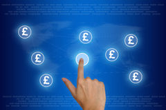 Hand pushing british pound currency Royalty Free Stock Image