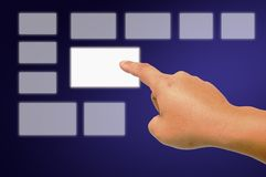 Hand pushing the button Stock Images