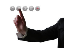 Hand pushing button. Business concept (isolated on white background stock image