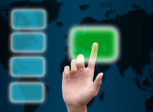 Hand pushing button on abstract the world technology Royalty Free Stock Images