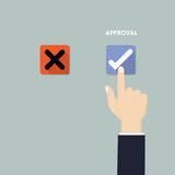 Hand pushing button with checkmark.Rejection and Approval decisi Stock Images