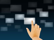 Hand pushing the button. Choose on a touch screen Royalty Free Stock Photography
