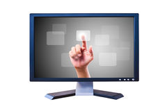 Hand pushing button on Flat screen Royalty Free Stock Photo