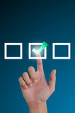 Hand pushing a button mark tick ​​was. Stock Photo