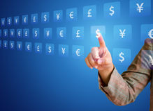 Hand pushing on a button money touch screen. Interface Stock Photos