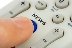 Free Hand Pushing Button News Stock Photography - 5299882