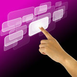 Hand pushing a button on a touch screen. Interface Royalty Free Stock Images