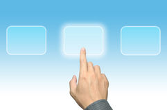 Hand pushing a button on touch screen interface Stock Images