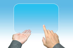 Hand pushing a button on touch screen interface Royalty Free Stock Photo
