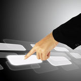 Hand pushing a button on a touch screen interface. Hand pushing a button on a touch screen background Royalty Free Stock Image