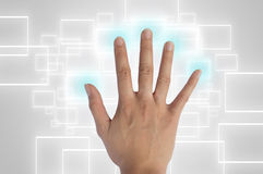 Hand pushing a button on a touch screen. Interface Royalty Free Stock Photo