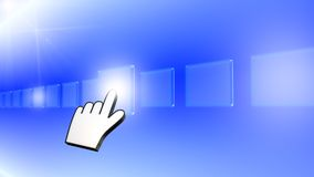 Hand pushing a button. On a touch screen interface Stock Photos