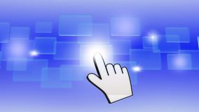 Hand pushing a button. On a touch screen interface Royalty Free Stock Images