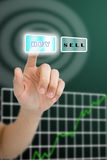 Hand pushing buy button Stock Photography