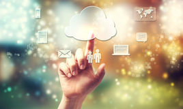 Hand pushing cloud connectivity icon. Cloud computing theme with person pushing cloud button stock illustration