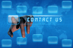 Hand pushing contact us button Stock Photos