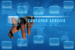 Hand pushing customer service button. On a touch screen interface stock illustration