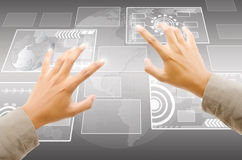 Hand pushing digital button on touch screen interf royalty free stock photos