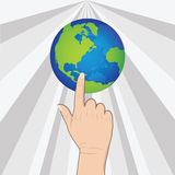 Hand pushing earth Royalty Free Stock Photography