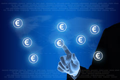 Hand pushing euro currency network Royalty Free Stock Images