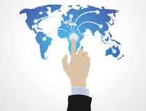 Hand pushing Globe Stock Photos