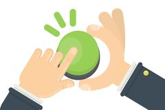 Hand pushing green button. On white background Stock Image