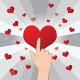 Hand pushing heart. Love concept Stock Photo