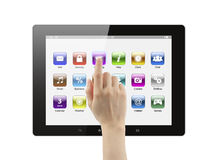 Hand pushing icon on tablet pc. On white background stock illustration