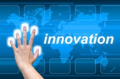 Hand pushing innovation Royalty Free Stock Images