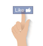 Hand pushing like button Royalty Free Stock Photography