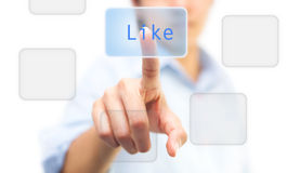 Hand pushing Like on touch screen. Icon Royalty Free Stock Photos