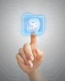 Hand pushing MRI button Stock Images